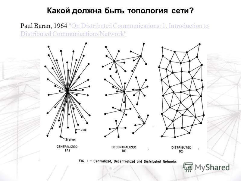 Paul Baran, 1964 On Distributed Communications: 1. Introduction to Distributed Communications NetworkOn Distributed Communications: 1. Introduction to Distributed Communications Network Какой должна быть топология сети?