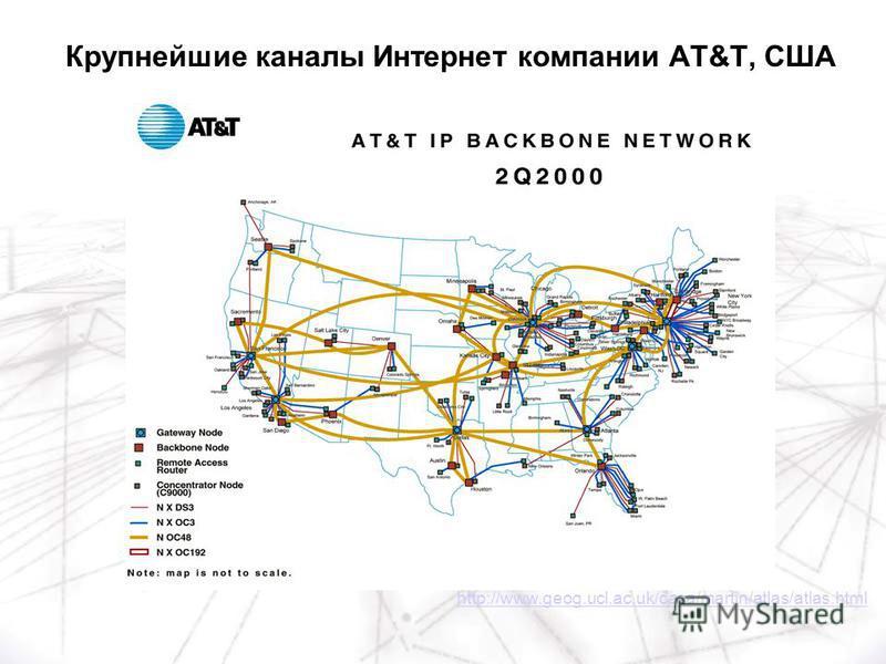 http://www.geog.ucl.ac.uk/casa/martin/atlas/atlas.html Крупнейшие каналы Интернет компании AT&T, США