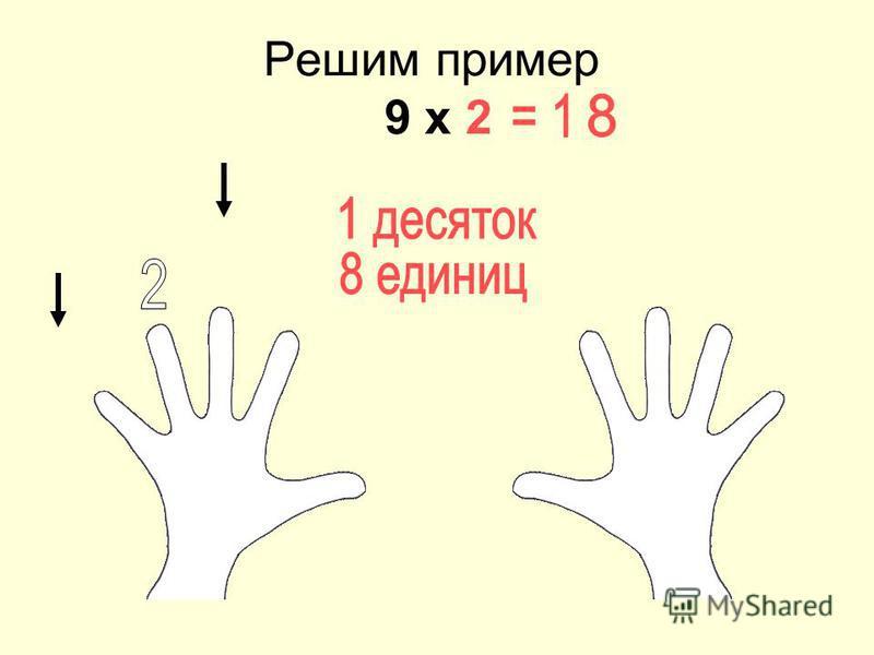 Решим пример 9 х 2