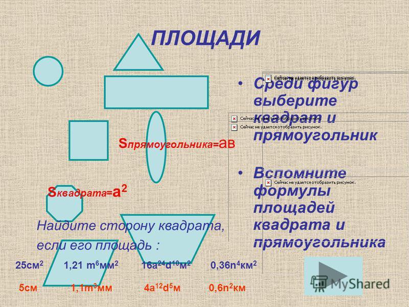 ПЛОЩАДИ Среди фигур выберите квадрат и прямоугольник Вспомните формулы площадей квадрата и прямоугольника S квадрата= а 2 S прямоугольника= ав Найдите сторону квадрата, если его площадь : 25 см 2 1,21 m 6 мм 2 16a 24 d 10 м 2 0,36n 4 км 2 5 см 1,1m 3