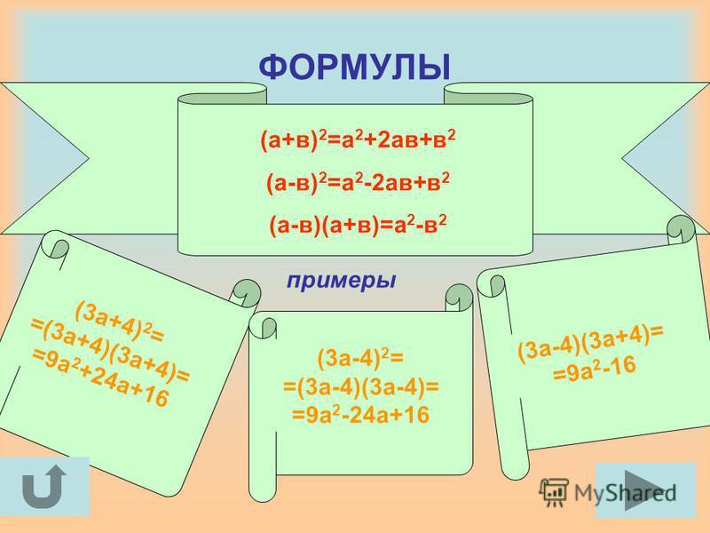 ФОРМУЛЫ (а+в) 2 =а 2 +2 ав+в 2 (а-в) 2 =а 2 -2 ав+в 2 (а-в)(а+в)=а 2 -в 2 примеры (3 а+4) 2 = =(3 а+4)(3 а+4)= =9 а 2 +24 а+16 (3 а-4) 2 = =(3 а-4)(3 а-4)= =9 а 2 -24 а+16 (3 а-4)(3 а+4)= =9 а 2 -16