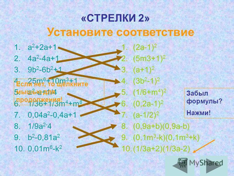«СТРЕЛКИ 2» 1. a 2 +2a+1 2.4a 2 -4a+1 3.9b 2 -6b 2 +1 4.25m 6 +10m 3 +1 5. a 2 -a+1/4 6.1/36+1/3m 4 +m 8 7.0,04a 2 -0,4a+1 8.1/9a 2- 4 9. b 2 -0,81a 2 10.0,01m 6 -k 2 1.(2a-1) 2 2.(5m3+1) 2 3.(a+1) 2 4.(3b 2 -1) 2 5.(1/6+m 4 ) 2 6.(0,2a-1) 2 7.(a-1/2