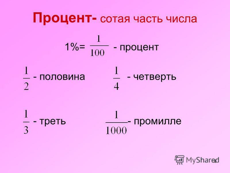 4 Процент- сотая часть числа 1%= - процент - половина - четверть - треть - промилле