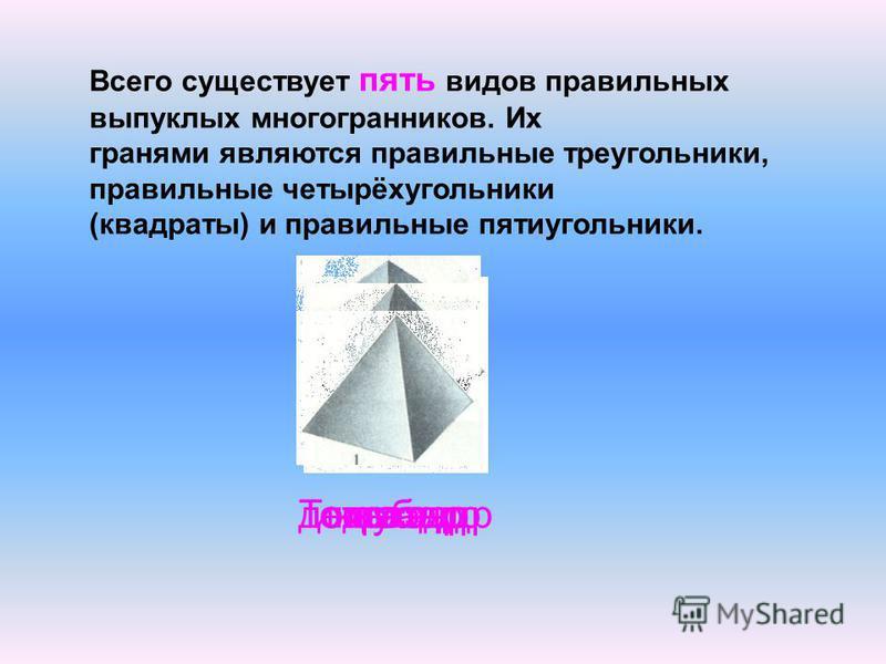 Всего существует пять видов правильных выпуклых многогранников. Их гранями являются правильные треугольники, правильные четырёхугольники (квадраты) и правильные пятиугольники. Тетраэдркубоктаэдрикосаэдрдодекаэдр