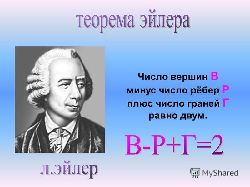 Число вершин В минус число рёбер Р плюс число граней Г равно двум.