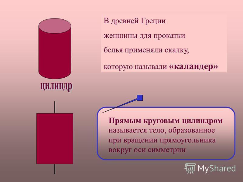 В древней Греции женщины для прокатки белья применяли скалку, которую называли «каландер» Прямым круговым цилиндром называется тело, образованное при вращении прямоугольника вокруг оси симметрии