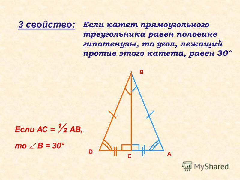 3 свойство: Если катет прямоугольного треугольника равен половине гипотенузы, то угол, лежащий против этого катета, равен 30° А С В D Если АС = ½ АВ, то В = 30°