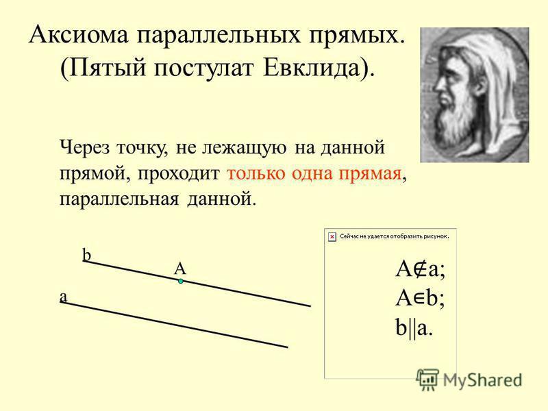 Аксиома параллельных прямых. (Пятый постулат Евклида). Через точку, не лежащую на данной прямой, проходит только одна прямая, параллельная данной. а b А А а; А b; b||а.