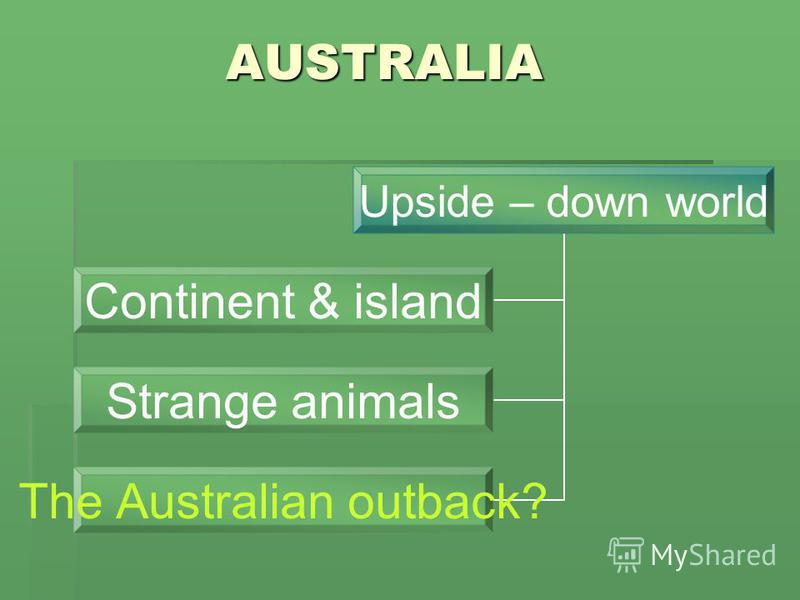 AUSTRALIA Upside – down world Continent & island Strange animals The Australian outback?