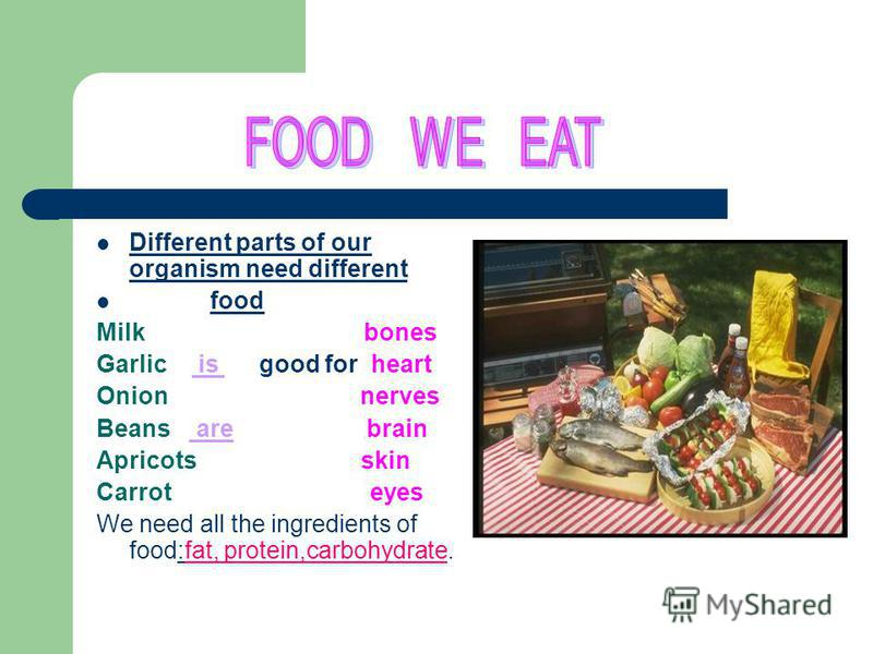 Different parts of our organism need different food Milk bones Garlic is good for heart Onion nerves Beans are brain Apricots skin Carrot eyes We need all the ingredients of food:fat, protein,carbohydrate.