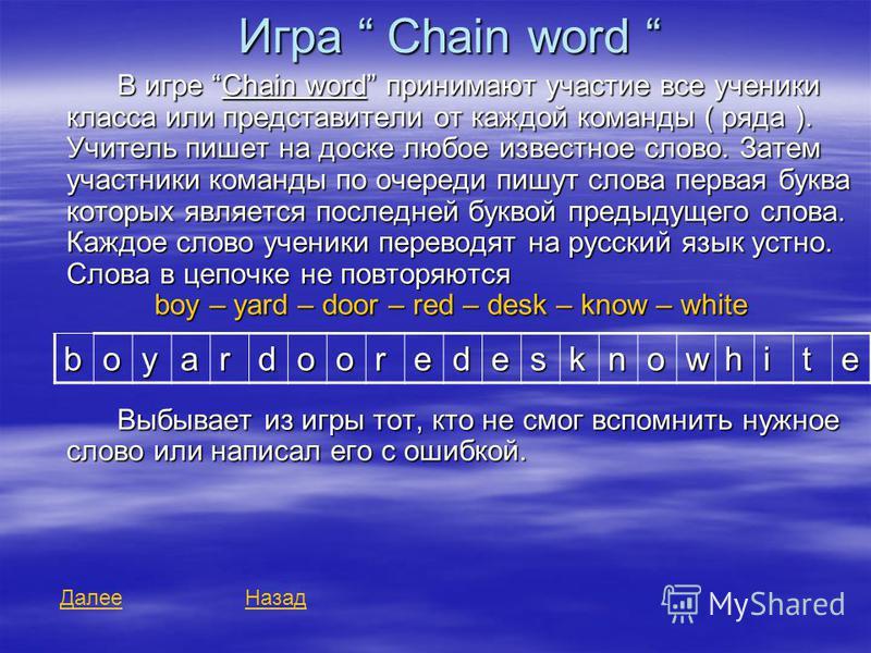 Игра Chain word Игра Chain word В игре Chain word принимают участие все ученики класса или представители от каждой команды ( ряда ). Учитель пишет на доске любое известное слово. Затем участники команды по очереди пишут слова первая буква которых явл
