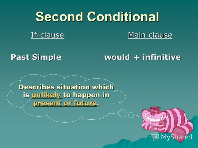 Second Conditional If-clause Past Simple Main clause would + infinitive Describes situation which is unlikely to happen in present or future. unlikely present or futureunlikely present or future