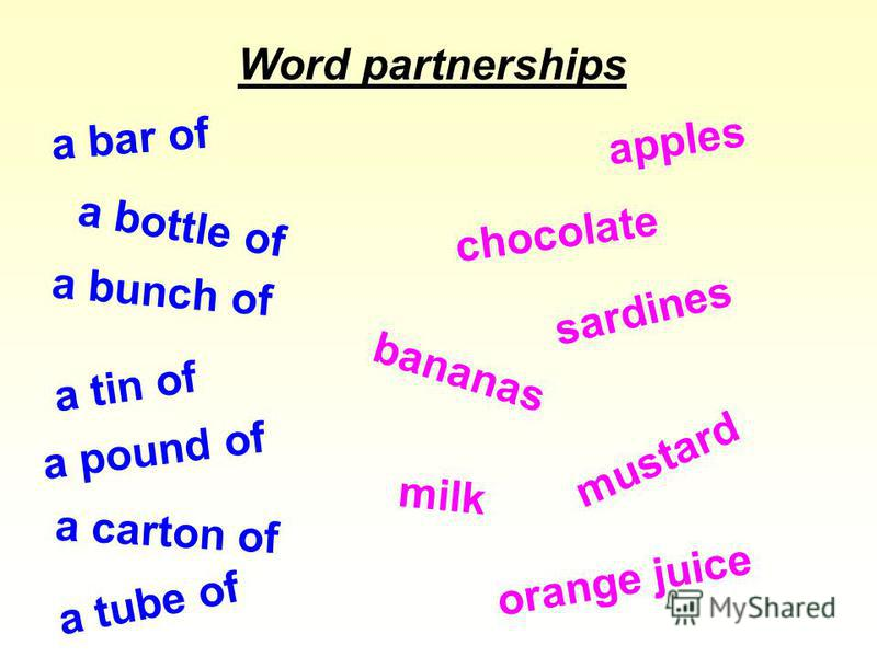 a bar of chocolate a bottle of milk a pound of apples a bunch of bananas a carton of orange juice a tin of sardines a tube of mustard Word partnerships