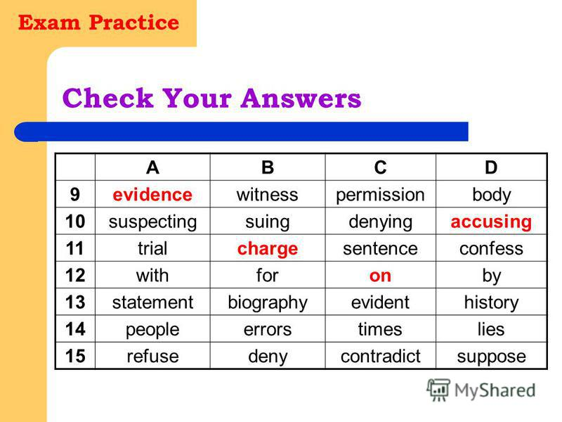 Exam Practice Check Your Answers ABCD 9evidencewitnesspermissionbody 10suspectingsuingdenyingaccusing 11trialchargesentenceconfess 12withforonby 13statementbiographyevidenthistory 14peopleerrorstimeslies 15refusedenycontradictsuppose