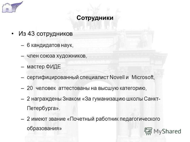 Сотрудники Из 43 сотрудников –6 кандидатов наук, –член союза художников, –мастер ФИДЕ –сертифицированный специалист Novell и Microsoft, –20 человек аттестованы на высшую категорию, –2 награждены Знаком «За гуманизацию школы Санкт- Петербурга». –2 име