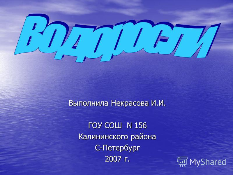 Выполнила Некрасова И.И. ГОУ СОШ N 156 Калининского района С-Петербург 2007 г.