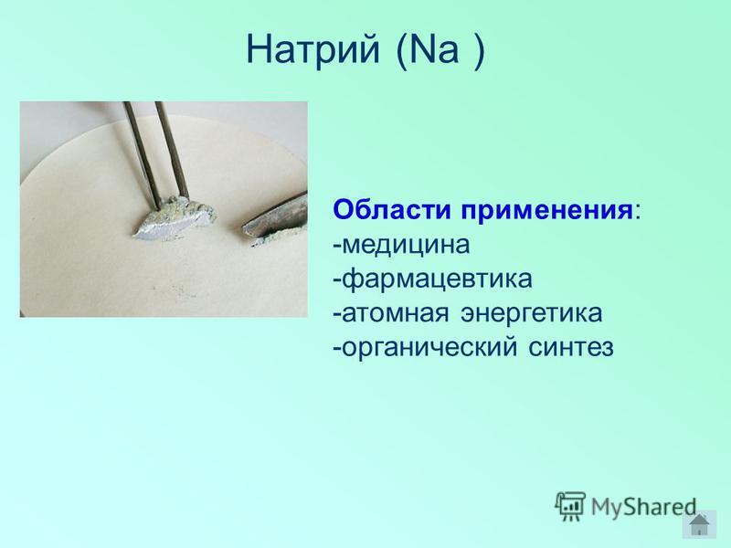 Натрий (Na ) Области применения: -медицина -фармацевтика -атомная энергетика -органический синтез