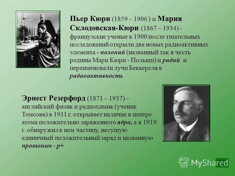 Пьер Кюри (1859 – 1906 ) и Мария Склодовская-Кюри (1867 – 1934) - французские ученые в 1900 после тщательных исследований открыли два новых радиоактивных элемента - полоний (названный так в честь родины Мари Кюри - Польши) и радий и переименовали луч
