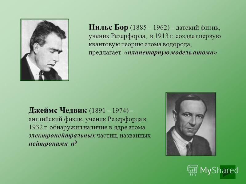 Джеймс Чедвик (1891 – 1974) – английский физик, ученик Резерфорда в 1932 г. обнаружил наличие в ядре атома электронейтральных частиц, названных нейтронами n 0 Нильс Бор (1885 – 1962) – датский физик, ученик Резерфорда, в 1913 г. создает первую кванто