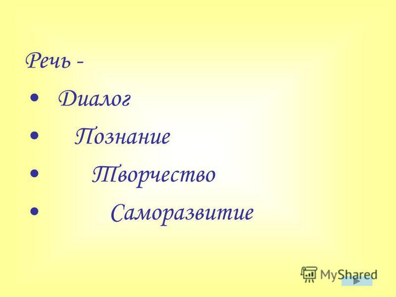 Речь - Диалог Познание Творчество Саморазвитие