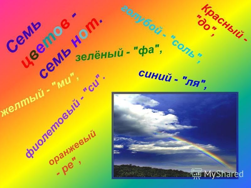 Семь цветов - семь нот. Красный - до, оранжевый - ре, желтый - ми, зелёный - фа, голубой - соль, синий - ля, фиолетовый - си.