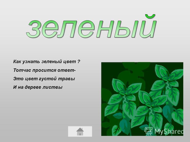 Как узнать зеленый цвет ? Тотчас просится ответ- Это цвет густой травы И на дереве листвы
