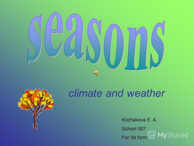 climate and weather Kozhakova E. A. School 507 For 3d form