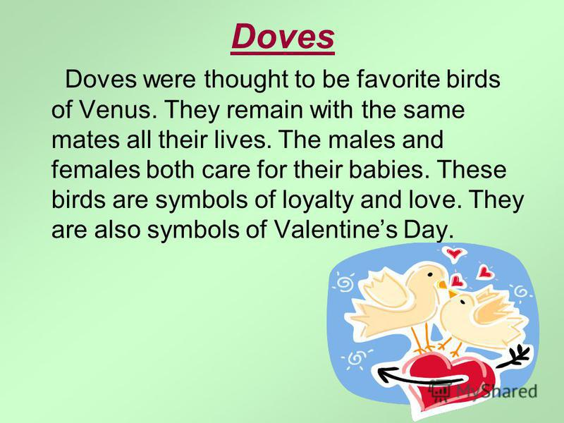 Doves Doves were thought to be favorite birds of Venus. They remain with the same mates all their lives. The males and females both care for their babies. These birds are symbols of loyalty and love. They are also symbols of Valentines Day.
