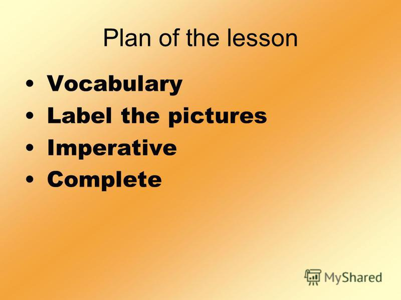 Plan of the lesson Vocabulary Label the pictures Imperative Complete
