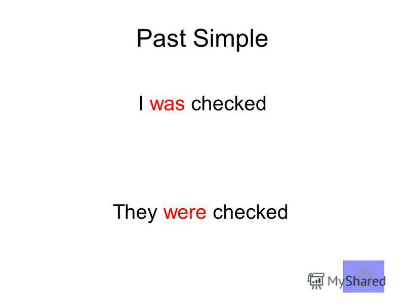 Past Simple I was checked They were checked