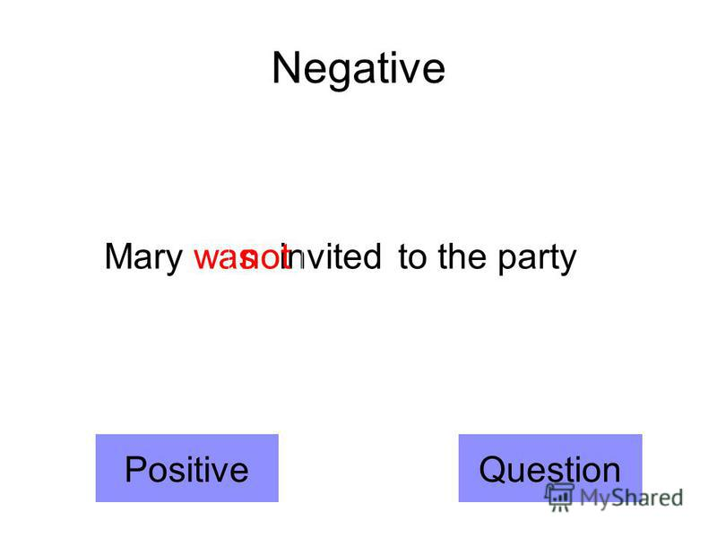 Negative Mary wasinvited to the party not PositiveQuestion