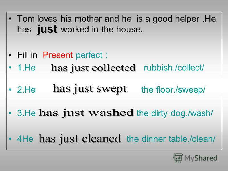 Tom loves his mother and he is a good helper.He has worked in the house. Fill in Present perfect : 1. He rubbish./collect/ 2. He the floor./sweep/ 3. He the dirty dog./wash/ 4He the dinner table./clean/