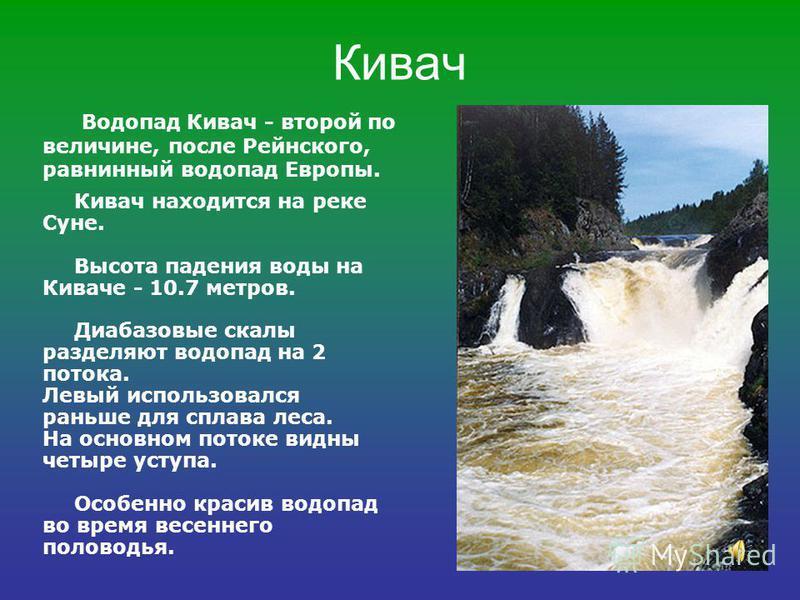 Кивач Кивач находится на реке Суне. Высота падения воды на Киваче - 10.7 метров. Диабазовые скалы разделяют водопад на 2 потока. Левый использовался раньше для сплава леса. На основном потоке видны четыре уступа. Особенно красив водопад во время весе