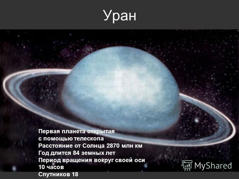 Уран Первая планета открытая с помощью телескопа Расстояние от Солнца 2870 млн км Год длится 84 земных лет Период вращения вокруг своей оси 10 часов Спутников 18