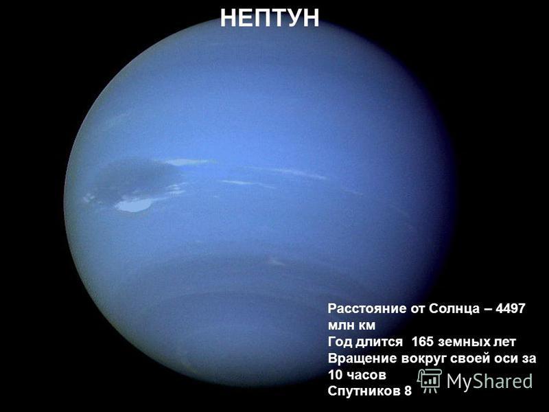 Нептун Расстояние от Солнца – 4497 млн км Год длится 165 земных лет Вращение вокруг своей оси за 10 часов Спутников 8 НЕПТУН