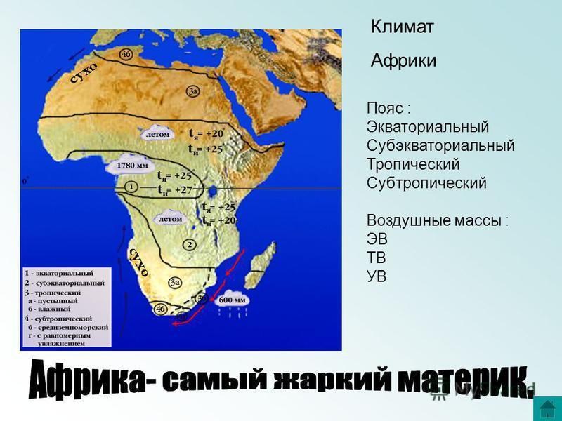 Пояс : Экваториальный Субэкваториальный Тропический Субтропический Воздушные массы : ЭВ ТВ УВ Климат Африки