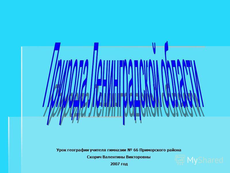Урок географии учителя гимназии 66 Приморского района Скорич Валентины Викторовны 2007 год
