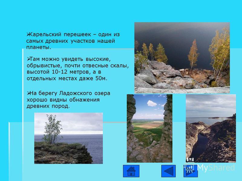 Карельский перешеек – один из самых древних участков нашей планеты. Там можно увидеть высокие, обрывистые, почти отвесные скалы, высотой 10-12 метров, а в отдельных местах даже 50 м. На берегу Ладожского озера хорошо видны обнажения древних пород.