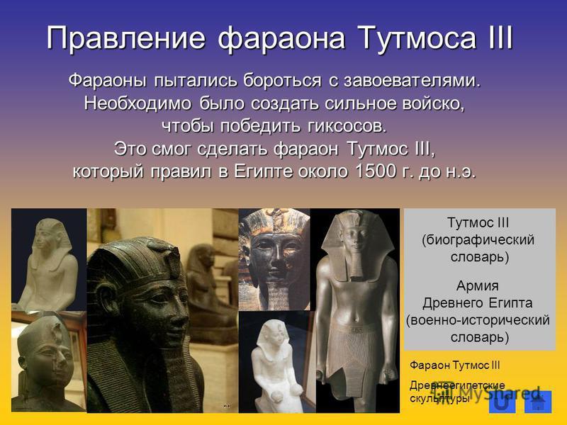 Правление фараона Тутмоса III Фараоны пытались бороться с завоевателями. Необходимо было создать сильное войско, чтобы победить гиксосов. Это смог сделать фараон Тутмос III, который правил в Египте около 1500 г. до н.э. Фараон Тутмос III Древнеегипет