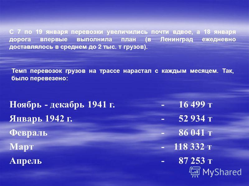 С 7 по 19 января перевозки увеличились почти вдвое, а 18 января дорога впервые выполнила план (в Ленинград ежедневно доставлялось в среднем до 2 тыс. т грузов). Ноябрь - декабрь 1941 г.- 16 499 т Январь 1942 г.- 52 934 т Февраль- 86 041 т Март-118 33