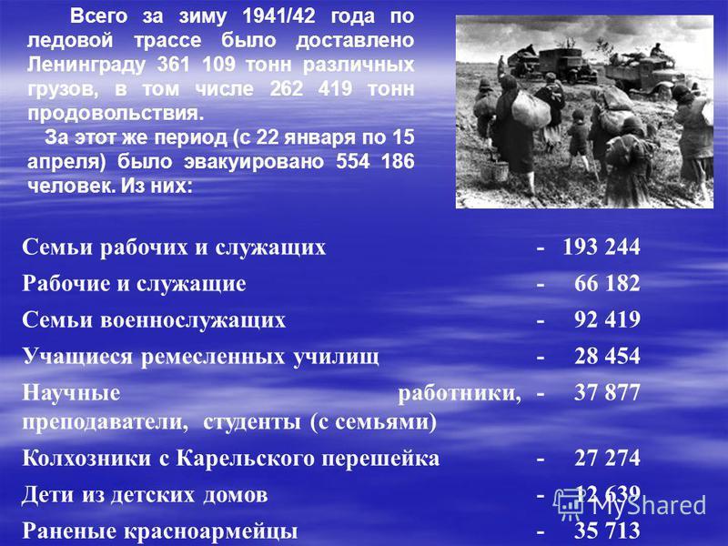 Всего за зиму 1941/42 года по ледовой трассе было доставлено Ленинграду 361 109 тонн различных грузов, в том числе 262 419 тонн продовольствия. За этот же период (с 22 января по 15 апреля) было эвакуировано 554 186 человек. Из них: Семьи рабочих и сл