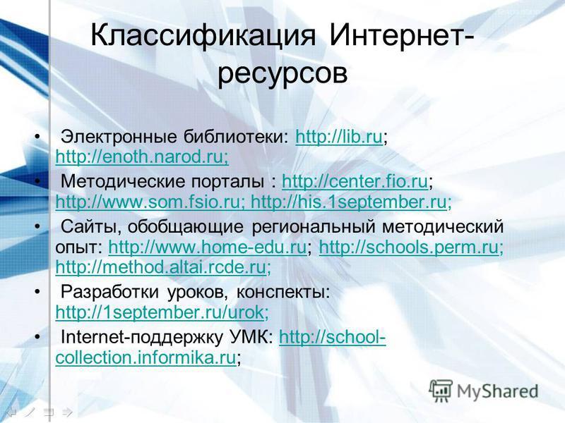 Классификация Интернет- ресурсов Электронные библиотеки: http://lib.ru; http://enoth.narod.ru;http://lib.ru http://enoth.narod.ru; Методические порталы : http://center.fio.ru; http://www.som.fsio.ru; http://his.1september.ru;http://center.fio.ru http
