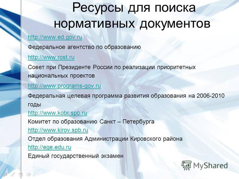 http://www.ed.gov.ru Федеральное агентство по образованию http://www.rost.ru Совет при Президенте России по реализации приоритетных национальных проектов http://www.programs-gov.ru Федеральная целевая программа развития образования на 2006-2010 годы