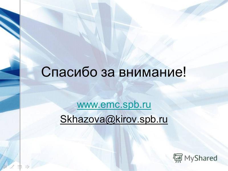 Спасибо за внимание! www.emc.spb.ru Skhazova@kirov.spb.ru
