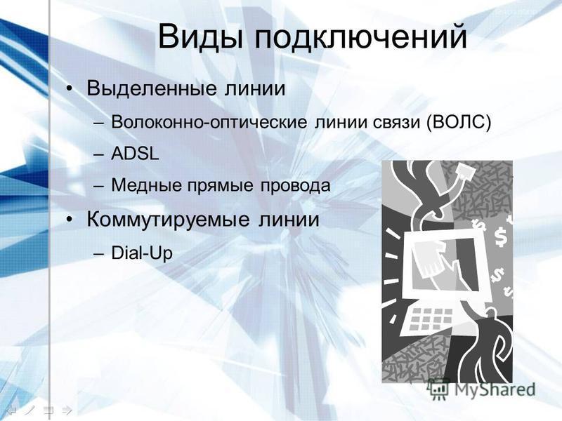 Виды подключений Выделенные линии –Волоконно-оптические линии связи (ВОЛС) –ADSL –Медные прямые провода Коммутируемые линии –Dial-Up