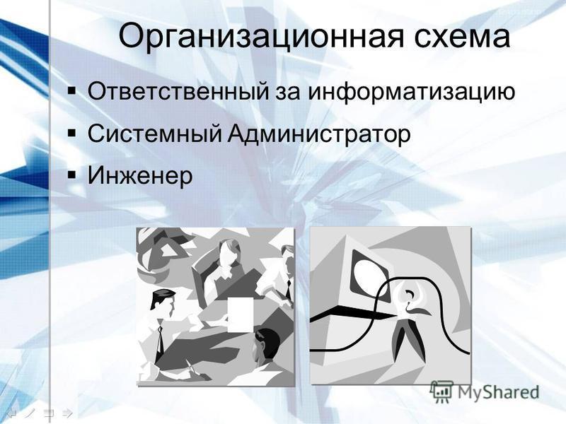 Организационная схема Ответственный за информатизацию Системный Администратор Инженер