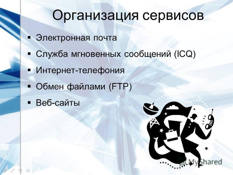 Организация сервисов Электронная почта Служба мгновенных сообщений (ICQ) Интернет-телефония Обмен файлами (FTP) Веб-сайты