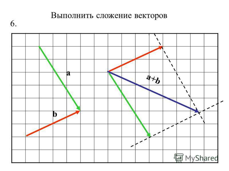 Выполнить сложение векторов 6. a b a+b