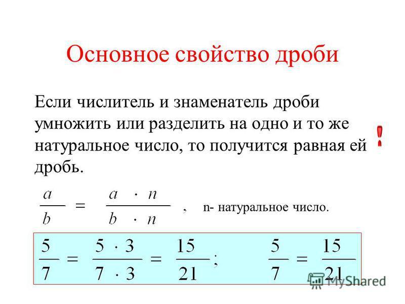 Основное свойство дроби Если числитель и знаменатель дроби умножить или разделить на одно и то же натуральное число, то получится равная ей дробь. n- натуральное число.