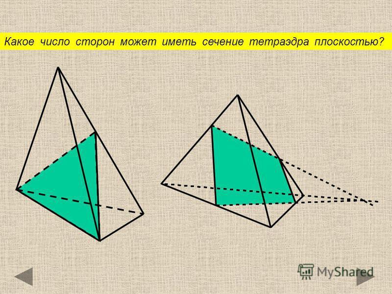 Какое число сторон может иметь сечение тетраэдра плоскостью?